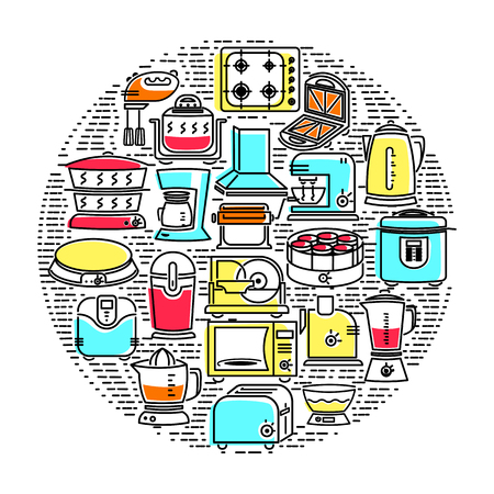 household goods: Outline icon set of kitchen appliances. Electrical appliances, household appliances for the kitchen. Icon with elements for mobile concepts and web apps. Line and flat style icon. Vector sign. Illustration
