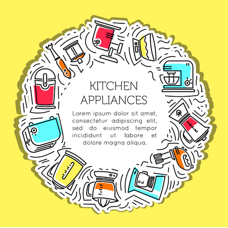 The frame of the line icons of kitchen appliances. Electrical appliances, household appliances for the kitchen. Icon for mobile concepts and web apps. Line and flat style icon. Vector sign. Illustration