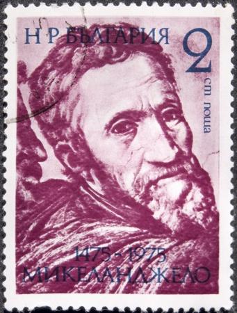 Ein Stempel in Bulgarien gedruckt, zeigt Michelangelo, circa 1975 Lizenzfreie Bilder