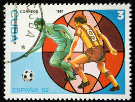 a stamp printed in cuba,and shows a football players,circa 1981