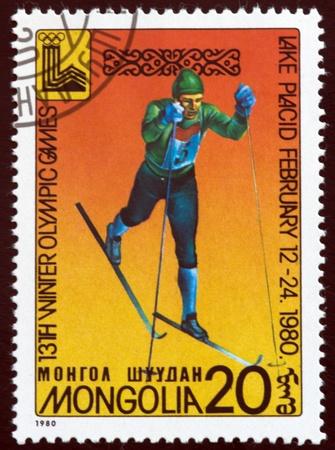 ein Stempel von der Mongolei Show Lake Placid 80emblem gedruckt