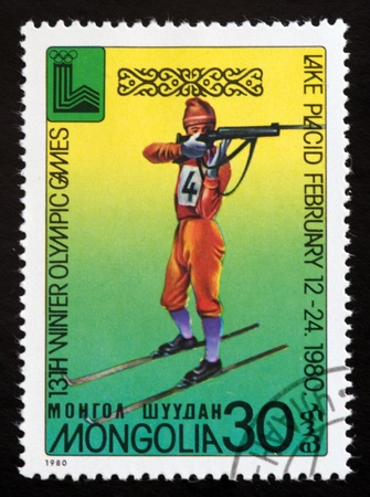 a stamp printed by mongolia shows lake placid 80emblem,circa 1980 Editorial