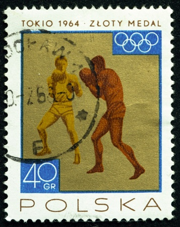 a stamp printed in poland shows boxers,circa 1965 Stock Photo