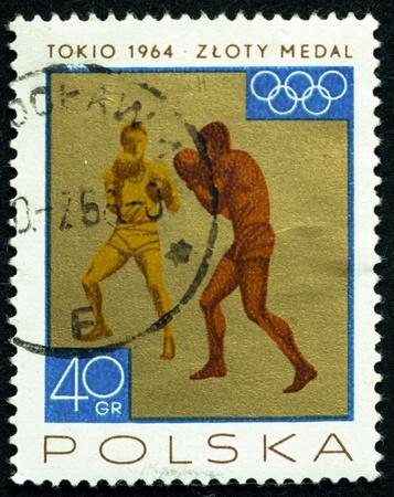 ein Stempel in Polen gedruckt zeigt Boxer, um 1965