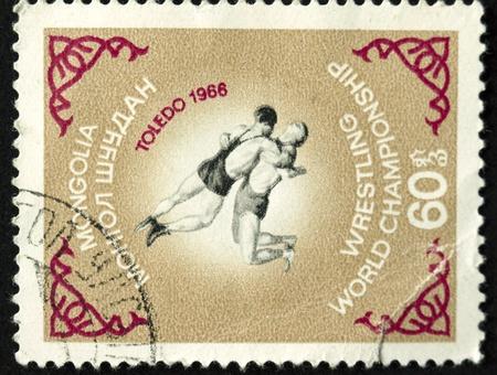 ein Poststempel in der Mongolei gedruckt zeigt Ringen, circa 1966