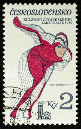 ein Stempel in der Tschechoslowakei gedruckt zeigt Olympischen Winterspielen in Lake Placid, circa 1980