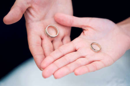 Two wedding rings on their hands photo