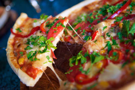 Italian pizza with vegetables photo