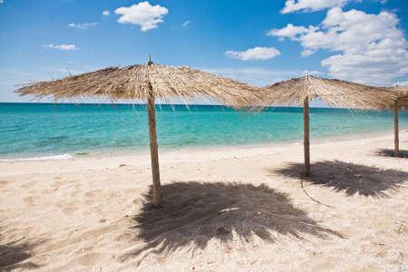 Umbrellas on the beach in summer