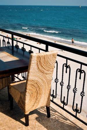 Restaurant overlooking the sea Stock Photo