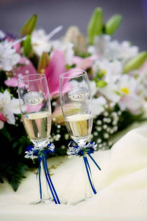 Wedding glasses and a bouquet