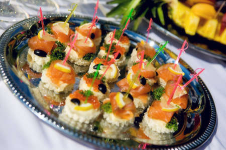 Elegant appetizers on a tray Stock Photo