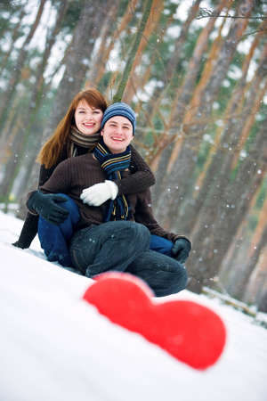 Couple in love in forest photo