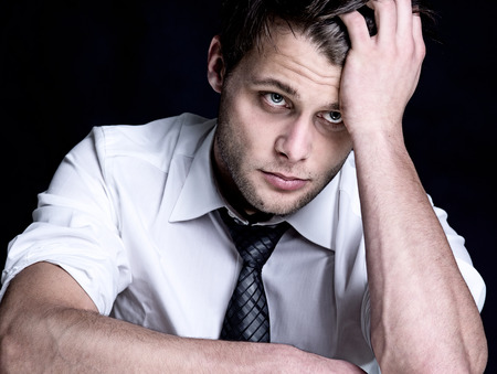 grieved: Stressed Stock Photo