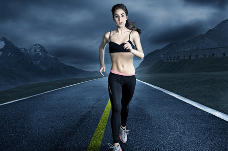 down lights: Woman Runner