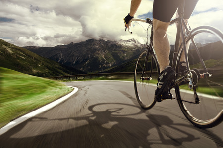 road bike: Downhill Stock Photo