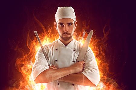 cocinero: Chef grave en el fuego