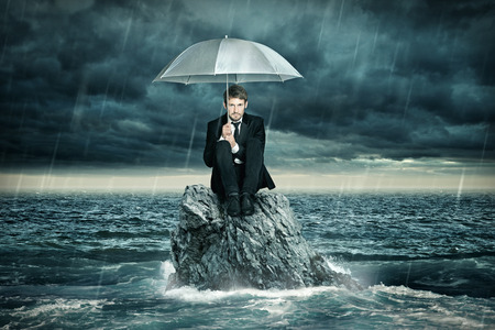 storm tide: Lonely Island Stock Photo