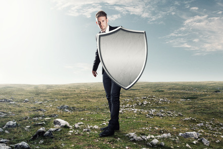 metal shield: Man with an iron shield