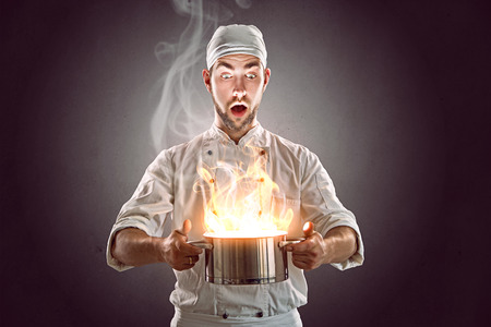 burns: Crazy Chef Stock Photo