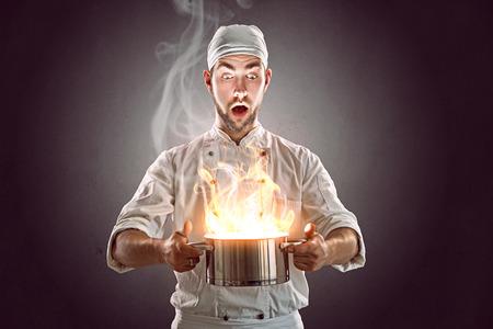 cocinero: Loco Chef Foto de archivo