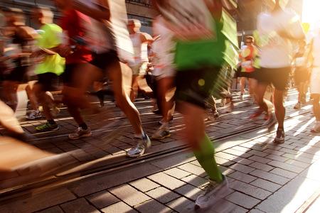 マラソン 写真素材