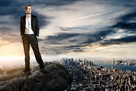 lider: hombre de negocios el concepto de éxito Foto de archivo
