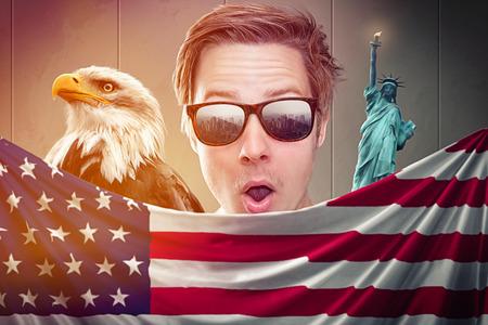 patriotic: man with USA flag
