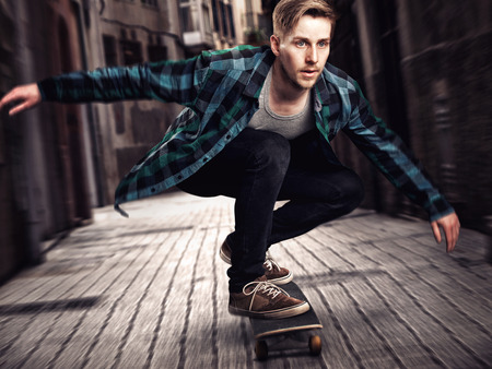 Man Skateboarder Stockfoto