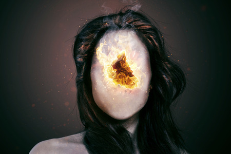 nervousness: Woman with a burning hole in her face