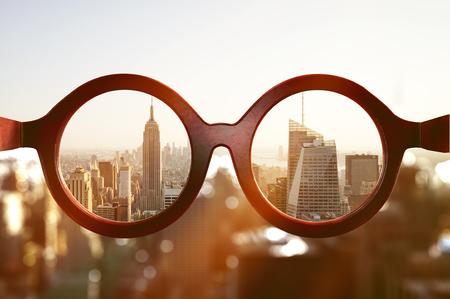 View on New York City through glasses