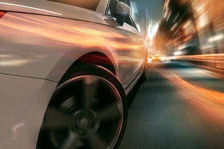 speed: Surrealista escena de un coche de alta velocidad en la ciudad