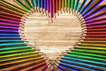 ハート形の色鉛筆 写真素材
