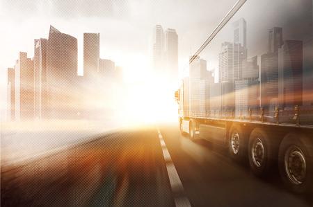 Truck and Skyline Archivio Fotografico