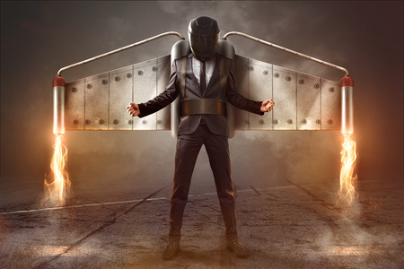 Jetpack Businessman Фото со стока - 75551270