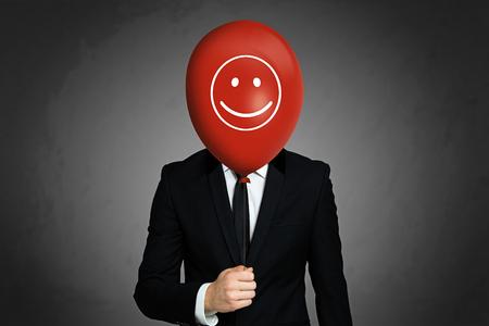 Hombre de negocios con globo Foto de archivo - 75551293