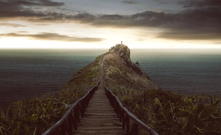 Path leads to a man on the rock