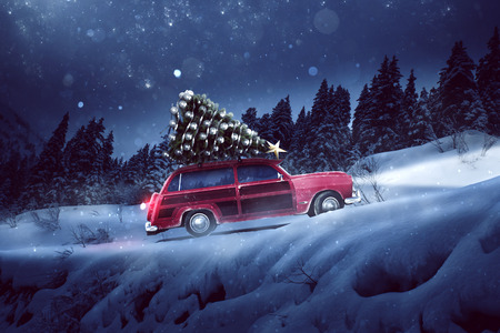 Car with a christmas tree on the roof