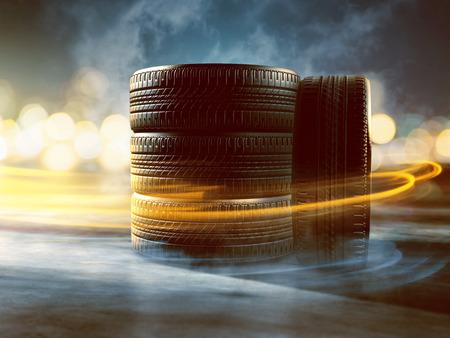 Quatre pneus de pose dans la rue Banque d'images - 75551845