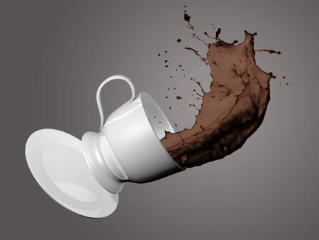 Tasse à café qui tombe