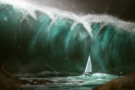 Sailboat in front of a tsunami Stockfoto