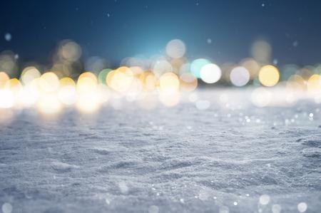 雪の背景ボケ ライト 写真素材