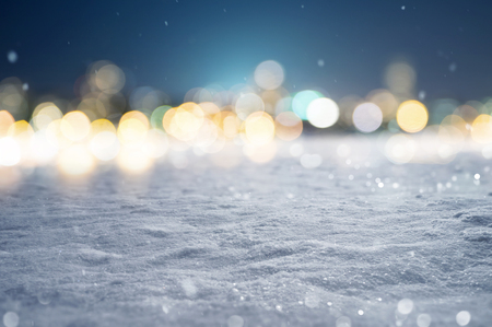 Snowy Background with Bokeh Lights Stockfoto