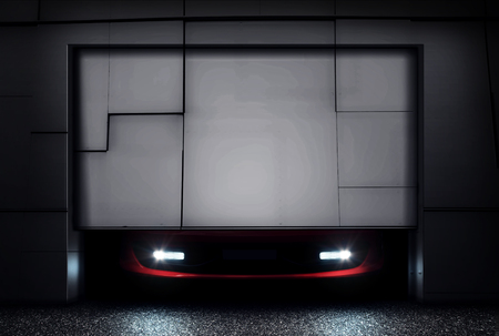 Sports Car behind Garage Door