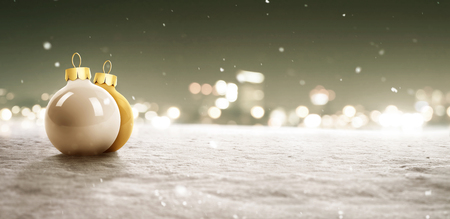Snowy Background with Christmas Baubles Banco de Imagens