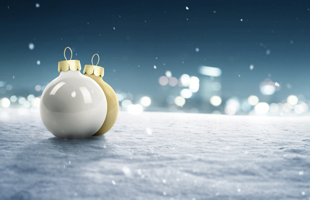 Snowy Background with Christmas Baubles Imagens