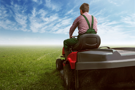 Man on a lawn tractor