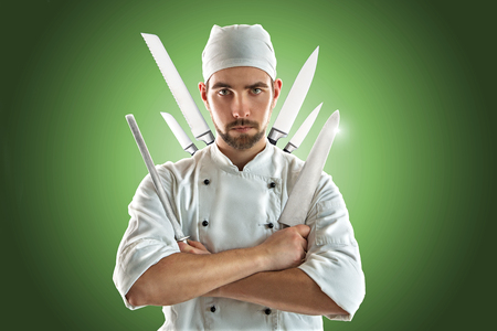 Chef with various Knifes