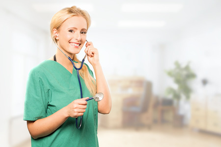 likable: Female Doctor with stethoskop Stock Photo