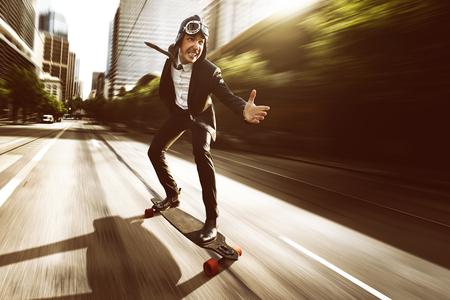 Skateboard with a business dress